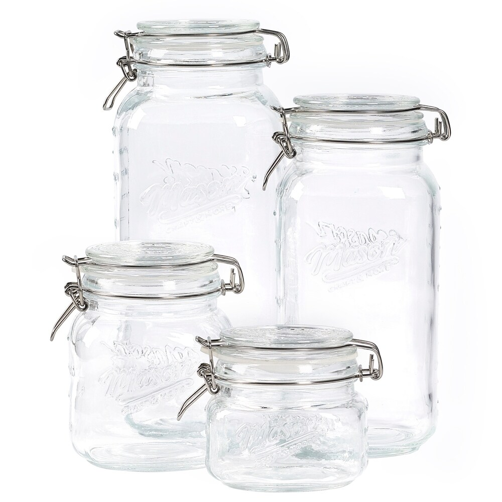 10 x Jam Jars 180ml Wide Mouth Glass Preserve Pots Gingham Lids Spice Jars Lids