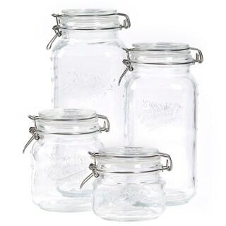 4pc Mason Glass Clamp Jar Set