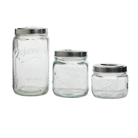 3pc Mason Glass Pop Up Canister Set