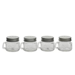 4pk 2oz Mason Glass Salt & Pepper W/Handle and Silver Metal Lid