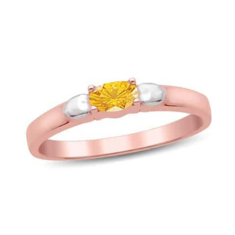 10K Rose Gold Genuine Birthstone Ring