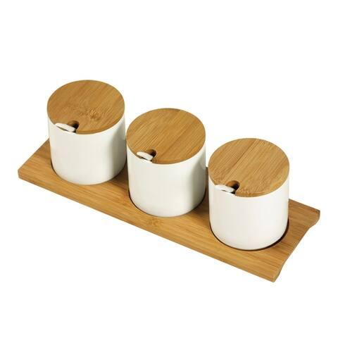 10pc Bamboo & Ceramic Condiment Set - White