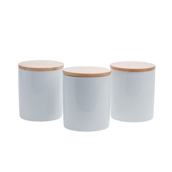 Set of 3 Bamboo & Ceramic Canister Set - White
