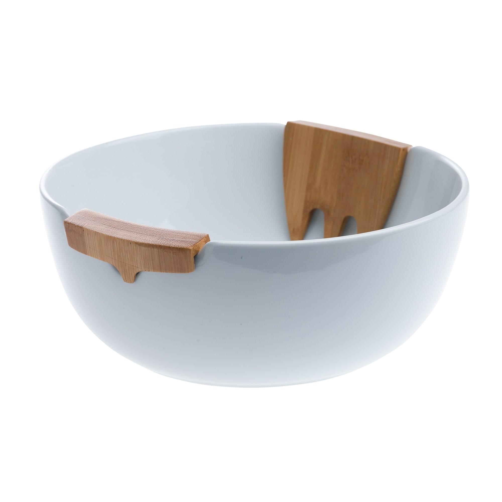 3pc Bamboo Ceramic Salad Set Overstock 22733955