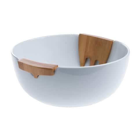 3pc Bamboo & Ceramic Salad Set
