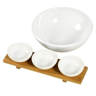5pc Bamboo & Ceramic Entertaining Set