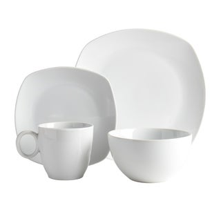 17pc Square Dinnerware Set W/Wire Rack