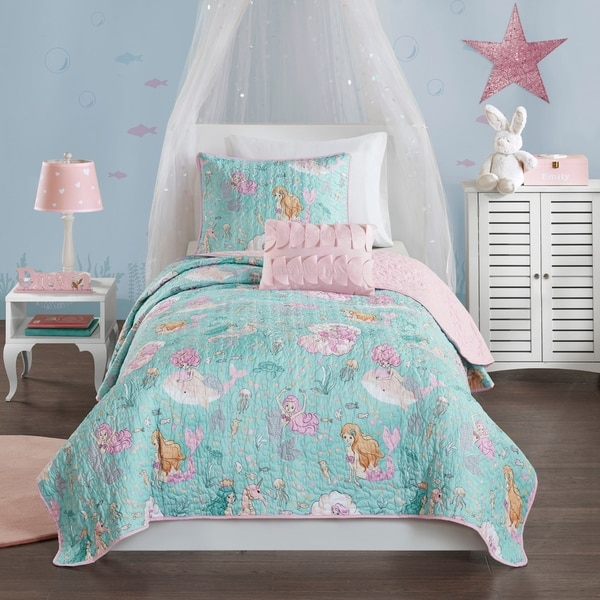 Mi Zone Kids Leilani Aqua/ Pink Printed Mermaid Coverlet Set