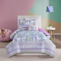 Mi Zone Kids Santiago Lavender Printed Llama Comforter Set
