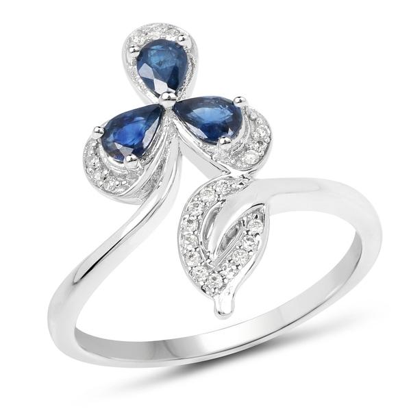 36d4016b7e828 Shop 0.57 Carat Genuine Blue Sapphire and White Diamond 14K White ...