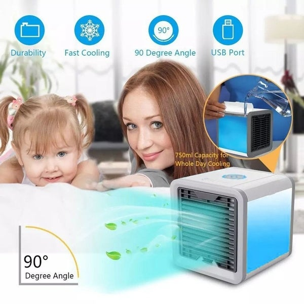 Mini Air Conditioner Cooler with 7 Colors LED Lights Air Humidifier Purifier