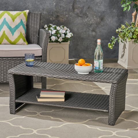 St. Lucia Outdoor Wicker Coffee Table by Christopher Knight Home
