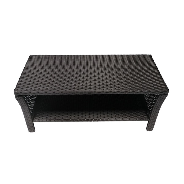 St Lucia Outdoor Wicker Coffee Table By Christopher Knight Home