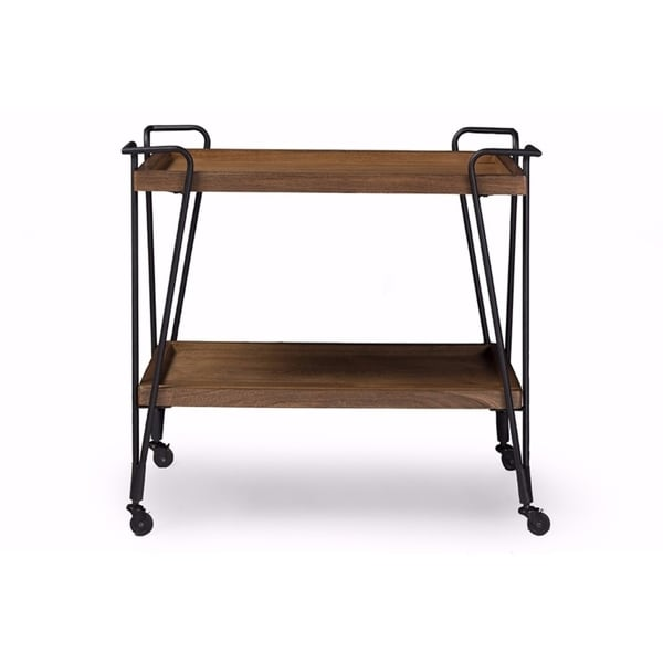 Industrial Kitchen Cart Bar Cart Serving Cart: Shop Industrial Style Ash Wood Mobile Serving Bar Cart