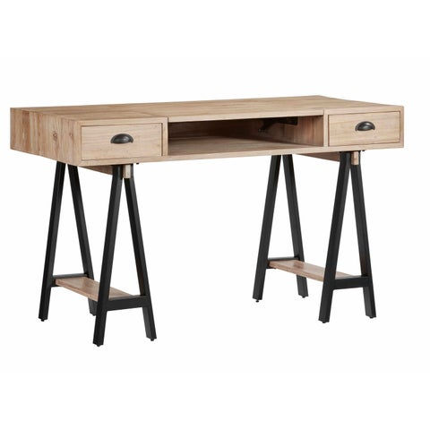 Progressive Natural Finish Elm Wood Lift-Top Desk with Black Metal Legs