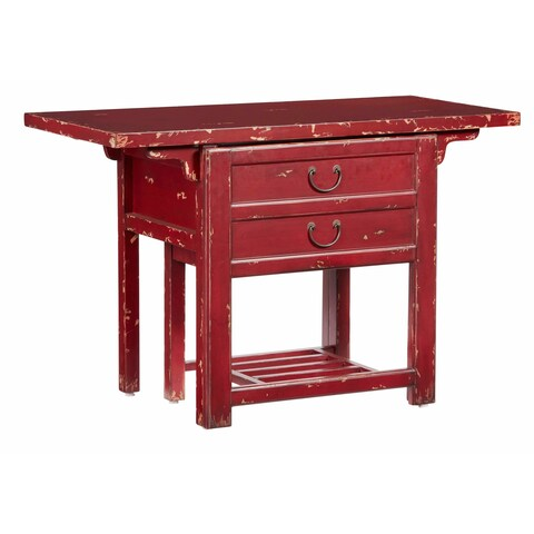 Sangria Red Wood Desk with Chair