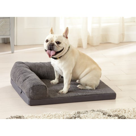 "Orthopedic Dog Bed with Bolster. Chaise Couch Protector Pet Cover for Cats and Dogs - 24"" x 20"""
