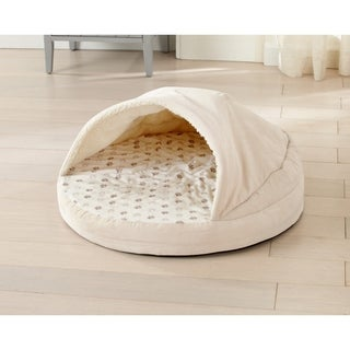 "Printed Velvet Plush Orthopedic Cuddle Cave Dog Bed with Cover - 26"" x 26"""