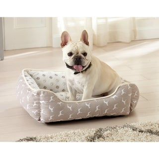 """Orthopedic Printed Velvet Plush Cuddler Dog Bed. Good for Small Dogs and Cats - 24"""" x 21"""""""