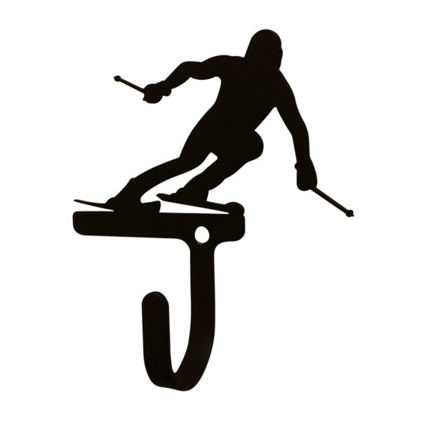 Village Wrought Iron Decorative Skier Wall Hook - Small