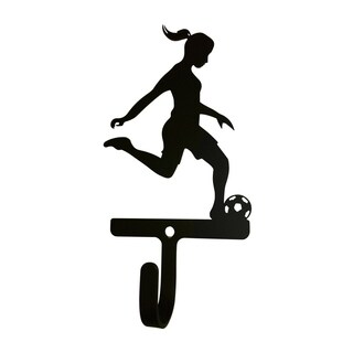 Village Wrought Iron Soccer Woman's/Girl's Decorative Wall Hook - Small