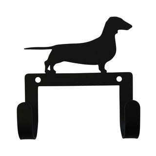 Village Wrought Iron Decorative Dachshund Leash and Collar Wall Hook
