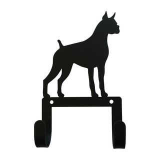 Village Wrought Iron Decorative Boxer Leash and Collar Wall Hook