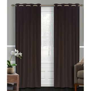 LJ Home Fashions Vera Detailed Faux Silk Privacy Grommet Top Curtain Panel Pair