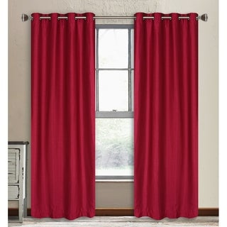 LJ Home Fashions Vale Lined Faux Silk Privacy Grommet Top Curtain Panel Pair