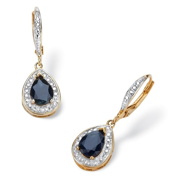 Gold Plated Drop Earrings Pear Midnight Shire And Diamond Accent