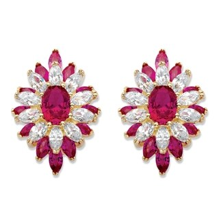 Gold-Plated Drop Earrings Oval Cut Created Red Ruby (8 7/8 cttw)