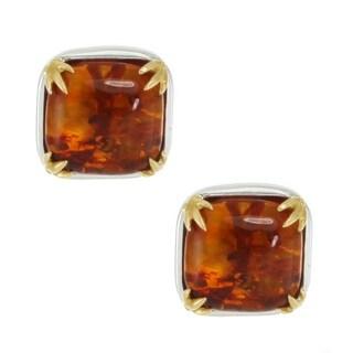 Michael Valitutti Palladium Silver Cushion Amber Stud Earrings