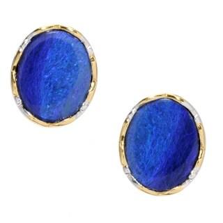 Michael Valitutti Palladium Silver Blue Opal Doublet Earrings