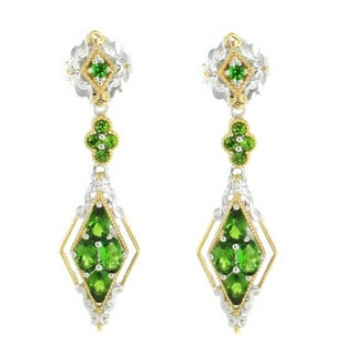 Michael Valitutti Palladium Silver Chrome Diopside Cluster Drop Earrings