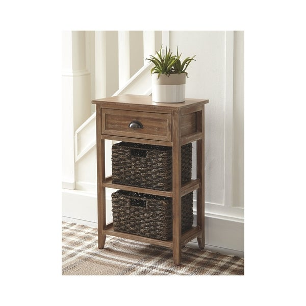 Oslember Light Brown Accent Table with 2 Baskets