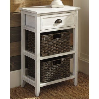 Signature Design by Ashley Oslember White Wood Accent Table with 2 Baskets