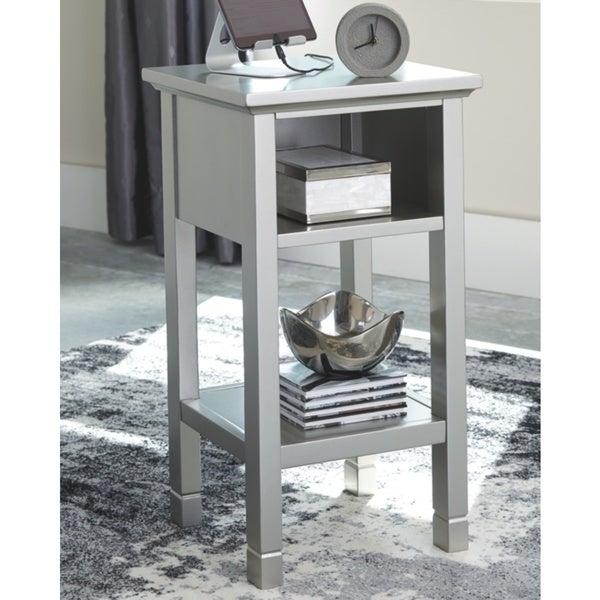 "Marnville Silver Contemporary Accent Table - 14"" W x 14"" D x 26"" H"