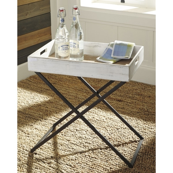 Tremendous Shop Janfield Antique White Casual Tray Table On Sale Home Interior And Landscaping Fragforummapetitesourisinfo