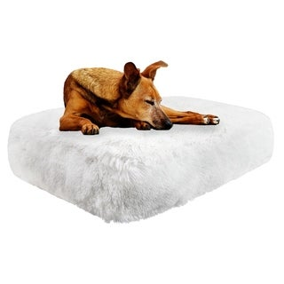 Bessie & Barnie Snow White Ultra Plush Faux Fur Luxury Shag Durable Sicilian Rectangle Pet/Dog Bed