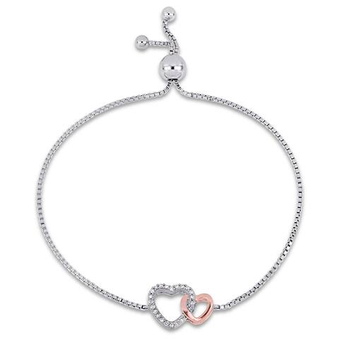 Miadora 2-Tone Rose Plated Sterling Silver 1/10ct TDW Diamond Heart Bolo Bracelet
