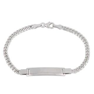 Miadora 10k White Gold Children's Cuban Link Engraveable ID Bracelet