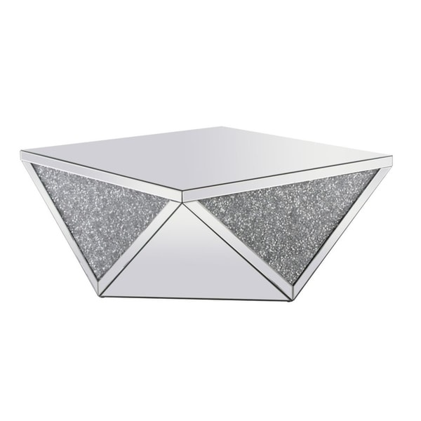 38 Inch Mirrored Square Crystal Coffee Table