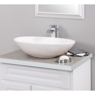 Novatto Porcelain Vessel Sink Combo with Chrome Faucet, Drain and Sealer