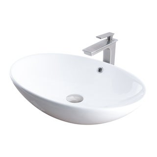 Novatto Porcelain Vessel Sink Combo with Brushed Nickel Faucet, Drain and Sealer