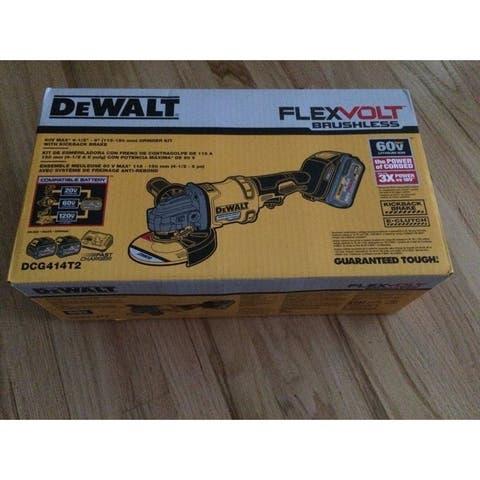 Dewalt DCG414T2 60V FLEXVOLT Grinder with Kickback Brake Kit - Black
