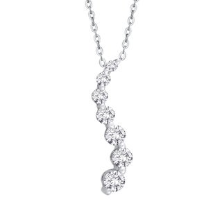 14K White Gold 1/10ct TDW Diamond Journey Pendant (J-K, I2-I3)