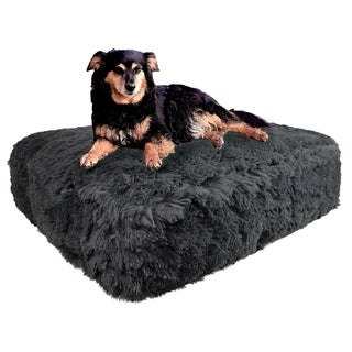 Bessie & Barnie Wolfhound Grey Ultra Plush Faux Fur Luxury Shag Durable Sicilian Rectangle Pet/Dog Bed
