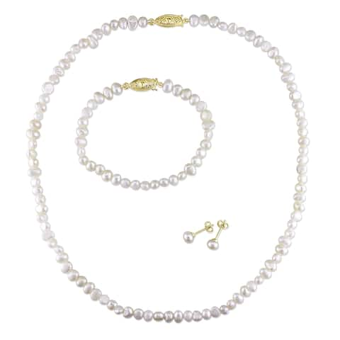 Miadora Goldtone Cultured Freshwater Pearl Necklace Bracelet & Stud Earrings Set