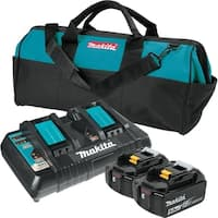 Makita BL1850B2DC2X 18V LXT Lithium-Ion Battery & Dual Port Charger Starter Pack (5.0Ah) - Black