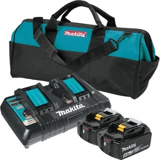 Makita BL1850B2DC2X 18V LXT Lithium-Ion Battery & Dual Port Charger Starter Pack (5.0Ah) - Black